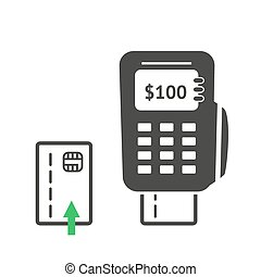POS terminal - Simple POS terminal logo icon. Vector...
