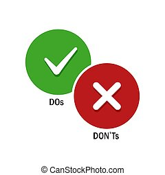 Simple positive and negative symbols, DOs and DONTs icons. ...