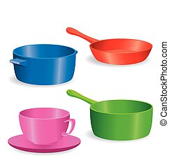 simple Pots and pans vector