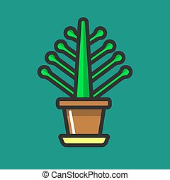 Simple potted flower - Vector illustration of pot with...