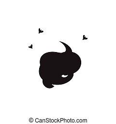 simple, poupe, fond blanc, icône