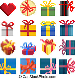 simple, présente, box., ensemble, pixel