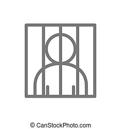 Simple prisoner behind bars line icon. Symbol and sign...