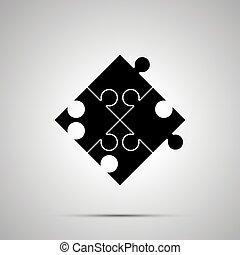 simple, puzzle, puzzle, noir, morceau, icône