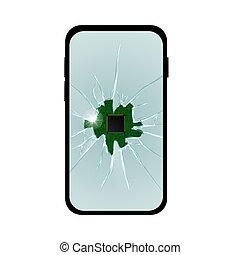 simple, réaliste, écran, cassé, téléphone