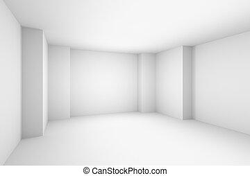 simple, résumé, illustration, blanche salle, vide