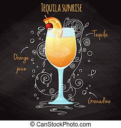 Simple recipe for an alcoholic cocktail Tequila Sunrise. Drawing chalk on a blackboard. Vector