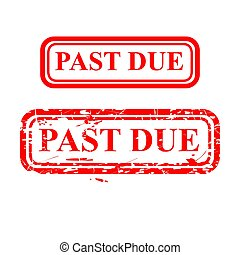 Simple Rectangle Vector Red Grunge Rubber Stamp Effect, Past Due, Isolated on White