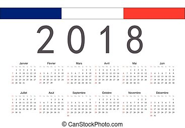 French calendar 2018. February 2018, french printable... clipart ...