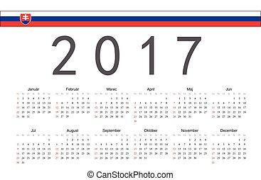 Simple rectangular Slovak 2017 year vector calendar. Week starts from Sunday.