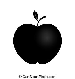 simple red apple icon with a sprig and leaf