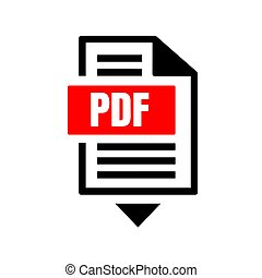 flat sign of pdf download icon button isolated on white background