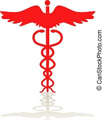 Simple red caduceus symbol with shadow isolated on white.