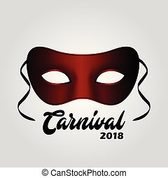 Simple Red Carnival Mask with Black Typography on grey background