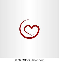 simple red heart illustration vector symbol