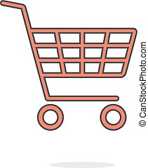 simple red shopping cart with shadow