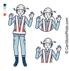 A Man wearing workwear with panic images.