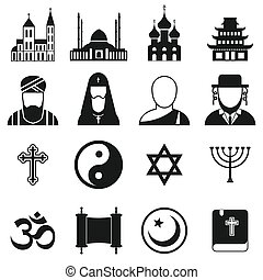 simple, religión, conjunto, iconos