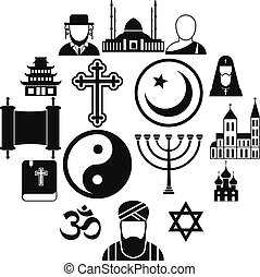 simple, religion, ensemble, icônes