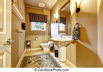 Simple restroom with washbasin stand and toilet
