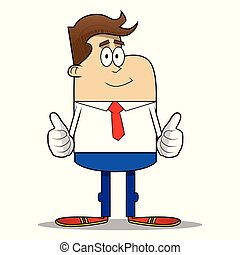 Simple retro cartoon of a businessman making thumbs up sign with two hands.