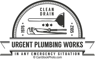 Simple retro logo plumbing services