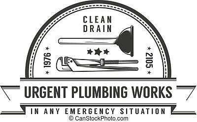 Simple retro logo plumbing services