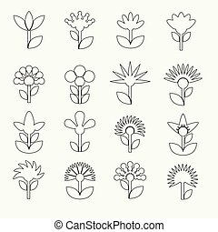 simple retro small flowers set of outline icons eps10