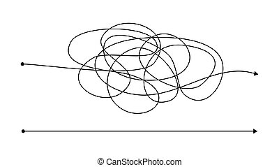 Simple right and complex wrong way with messy line. Black lines with a starting point and an arrow at the end isolated on white background. Vector illustration