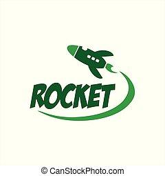 simple rocket launcher space ship vector logo