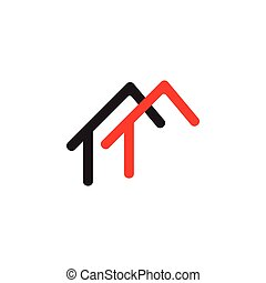simple roof home linked logo vector