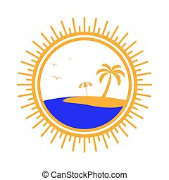 Simple round logo with palm tree, umbrella and sea.