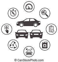 Simple rounded icons set related to car. Vector icon design