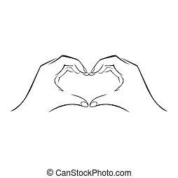simple, símbolo, amor, mano