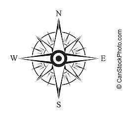 simple, símbolo, compas