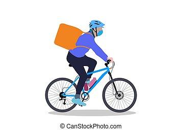 simple, sac à dos, blanc, garçon livraison, cycle, fond, conception