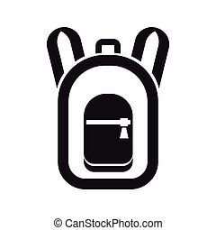 simple, sac à dos, style, icône