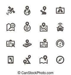 Simple Satellite Navigation Icons - Simple Set of Satellite...
