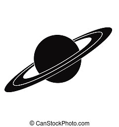 simple, saturno, negro, icono