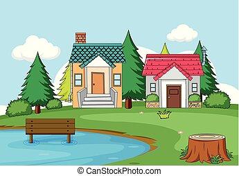 simple, scène rurale, maison