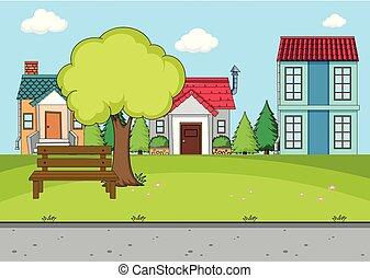 simple, scène rurale, village