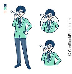 simple school boy Green Blazer_Wearing-glasses