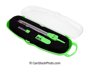 Simple school green compass in a plastic box isolated