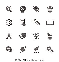 Simple School Subject Icons. - Simple Set of School Subject...