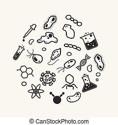 Simple science and micro organism icon set, virus, bacteria,...