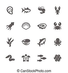 Simple Sea Food Icons