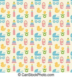 Seamless Colored Baby Items Pattern - Simple Seamless...