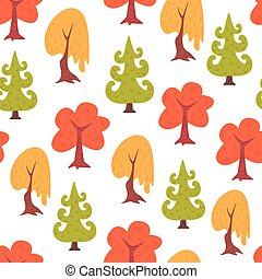 Simple seamless colorful trees pattern