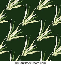 Simple seamless marine pattern with seaweeds shapes. Foliage ocean silhouettes on green dark background.