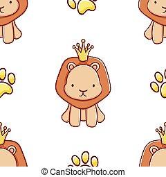 Simple seamless pattern, cute kawaii hand drawn lion doodles